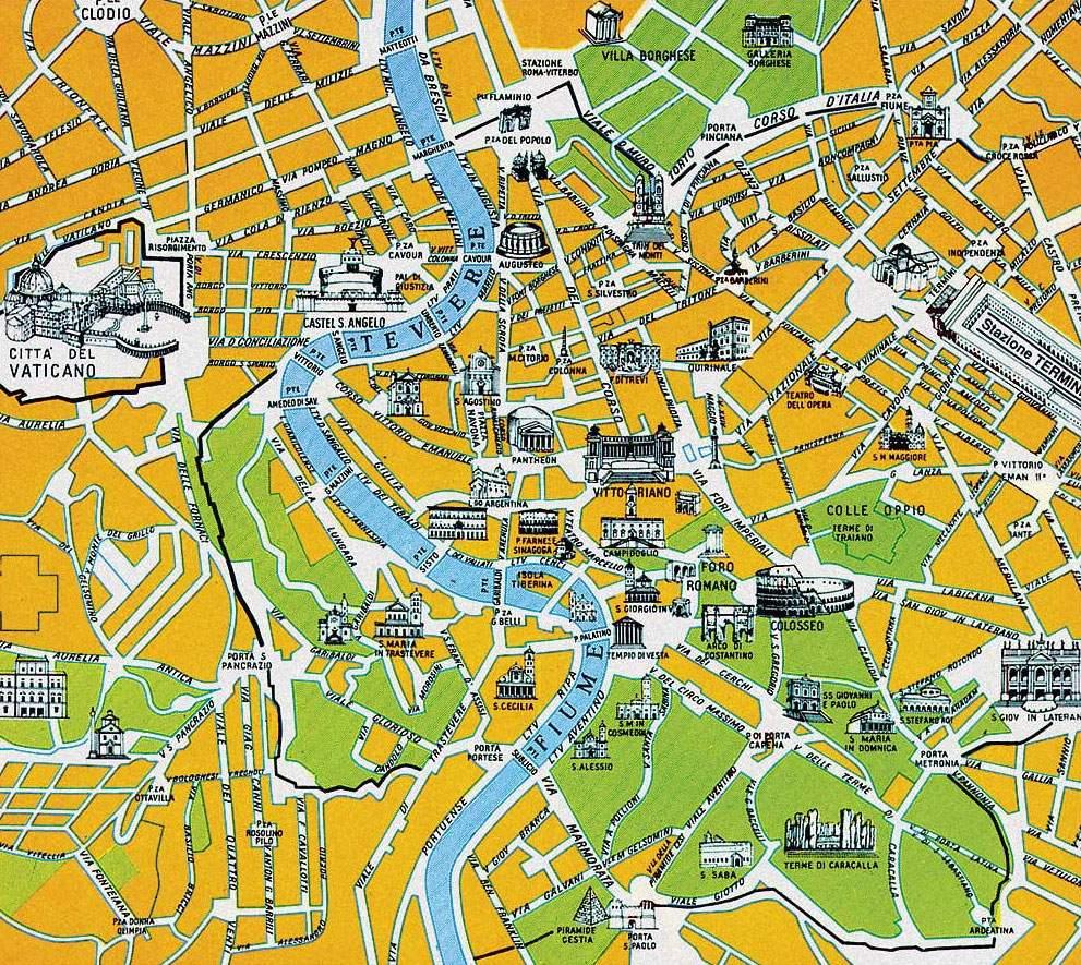 Plánek centra Říma s vyznačenými památkami